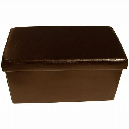 LARGE BROWN COLOUR LEATHER FOLD FLAT OTTOMAN STORAGE BOX